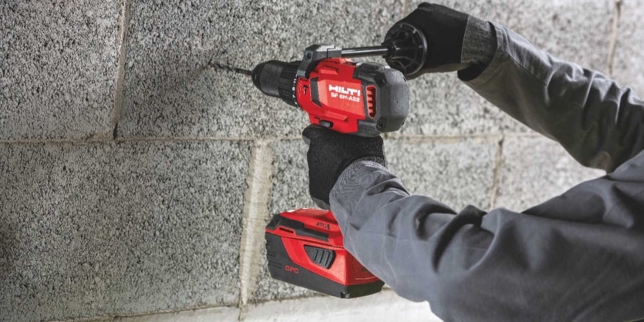 High performance hammer drilling into masonry with the SF 6H-A22